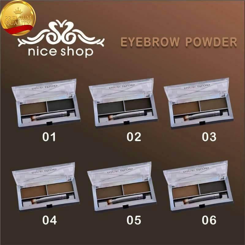 Nice Shop Eyebrow Powder เขียนคิ้วสองเฉด, พร้อมพู่กันและแปรงในด้ามเดียวกัน ในตลับเดียว 6 แบบให้เลือก เขียนง่าย ไม่เลอะเทอะ คุณภาพดีมาก เครื่องสำอาง แต่งหน้า ผู้หญิง สวยงาม ของแท้ พร้อมส่ง จัดส่งเร็ว รับประกัน เก็บเงินปลายทาง