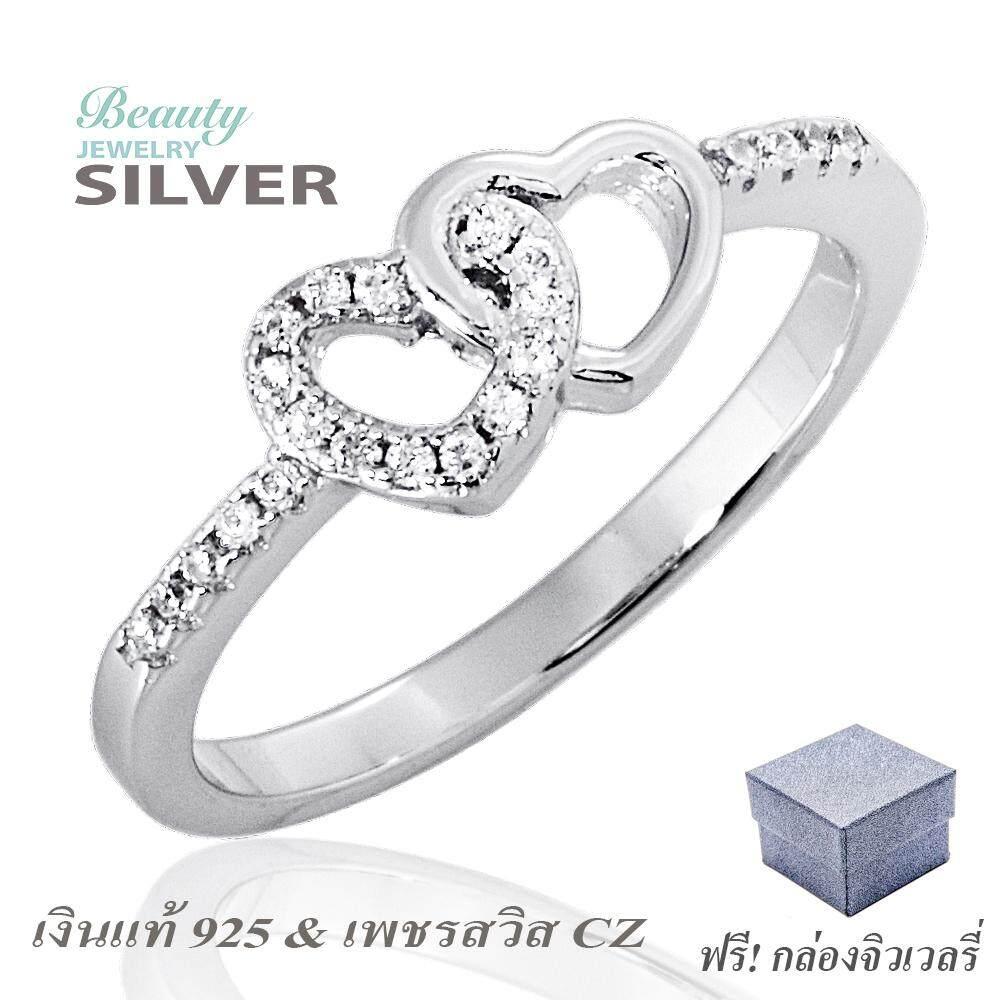 Beauty Jewelry เครื่องประดับผู้หญิง 925 Silver Jewelry แหวนเงินแท้ประดับเพชร Cz รุ่น Rs2276-Rr เคลือบทองคำขาว.