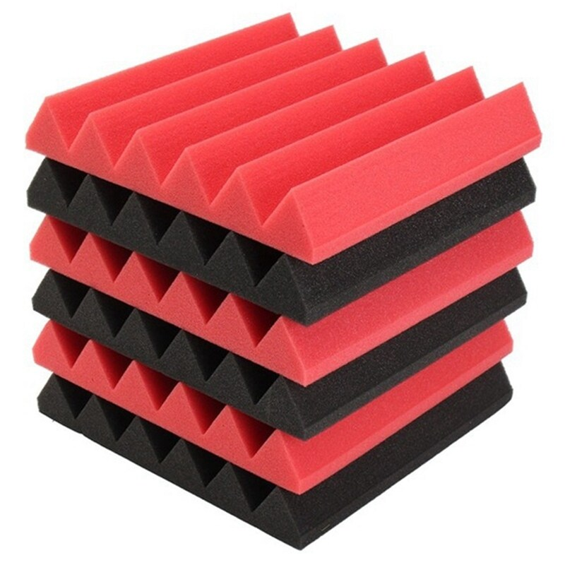 6Pcs 30X30X5Cm Wedge Sound Insulation Studio Foam Red/Black Studio Foam Musical Instruments Parts & Accessories