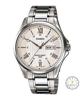 Casio Standard Gent quartz นาฬิกาข้อมือผู้ชาย เงิน/ขาว สายสแตนเลส รุ่น MTP-1384D-7AVDF