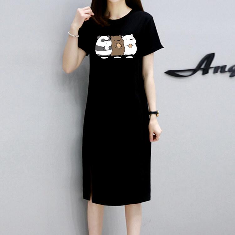 กระโปรงยาวเสื้อยืดแฟชั่นเกาหลีแขนสั้นลายแพทเทิร์นยืดผ้ายืดกระโปรงหวานน่ารักq149.