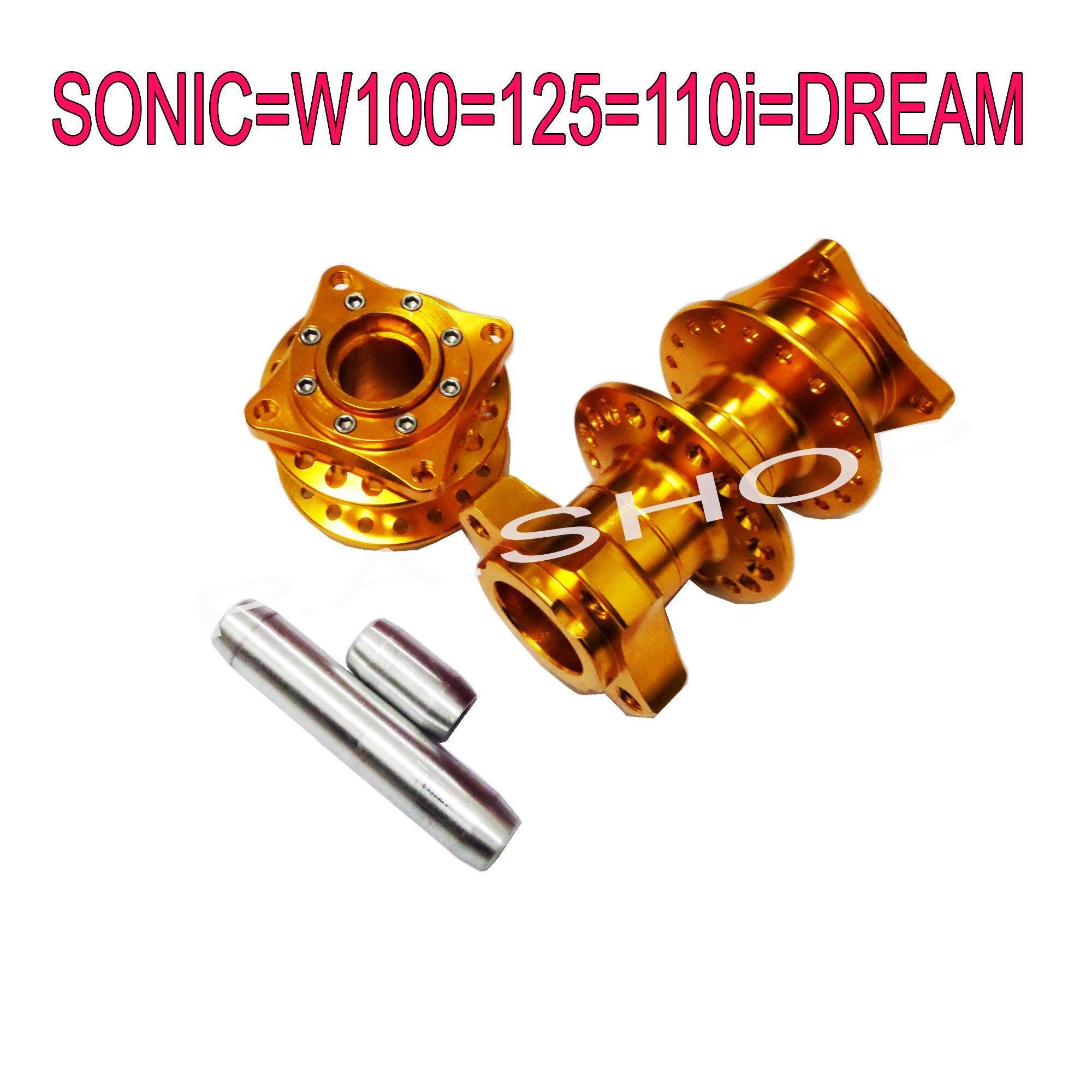 ซื้อที่ไหน ดุมย่อแต่งงาน CNC 2ชั้น แท้ BOUSHI ดิสหน้า+ดิสหลัง สำหรับ HONDA-SONIC=W100=125=110i=DREAM SUPERCUP สีทอง งานสุดเทพ