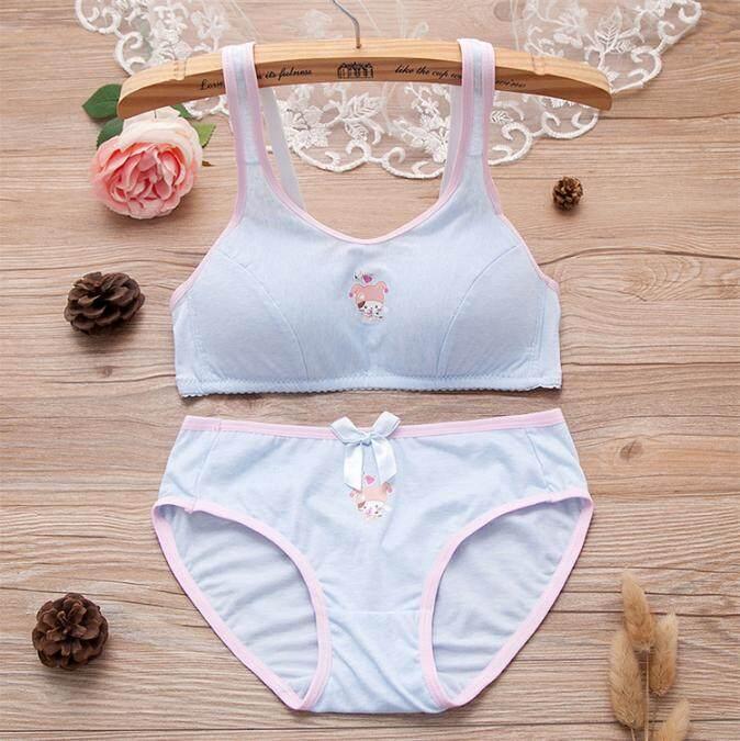 ชุดชั้นในเด็กโต สาววัยรุ่น BRA SET เสื้อใน กางเกงใน ชุดชั้นในสตรี ใส่สบาย ลายแมวกลาง cotton Bra ( แบบเซ็ท) สไตล์ Sabina
