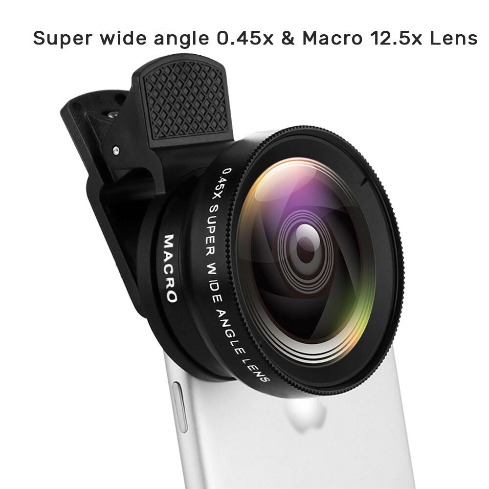 ฟังก์ชั่น 2 ใน 1 เลนส์โทรศัพท์มือถือ 0.45x มุมกว้าง Len & 12.5x Macro เลนส์กล้อง Hd สำหรับ Iphone Android โทรศัพท์เลนส์ Phone Lens.