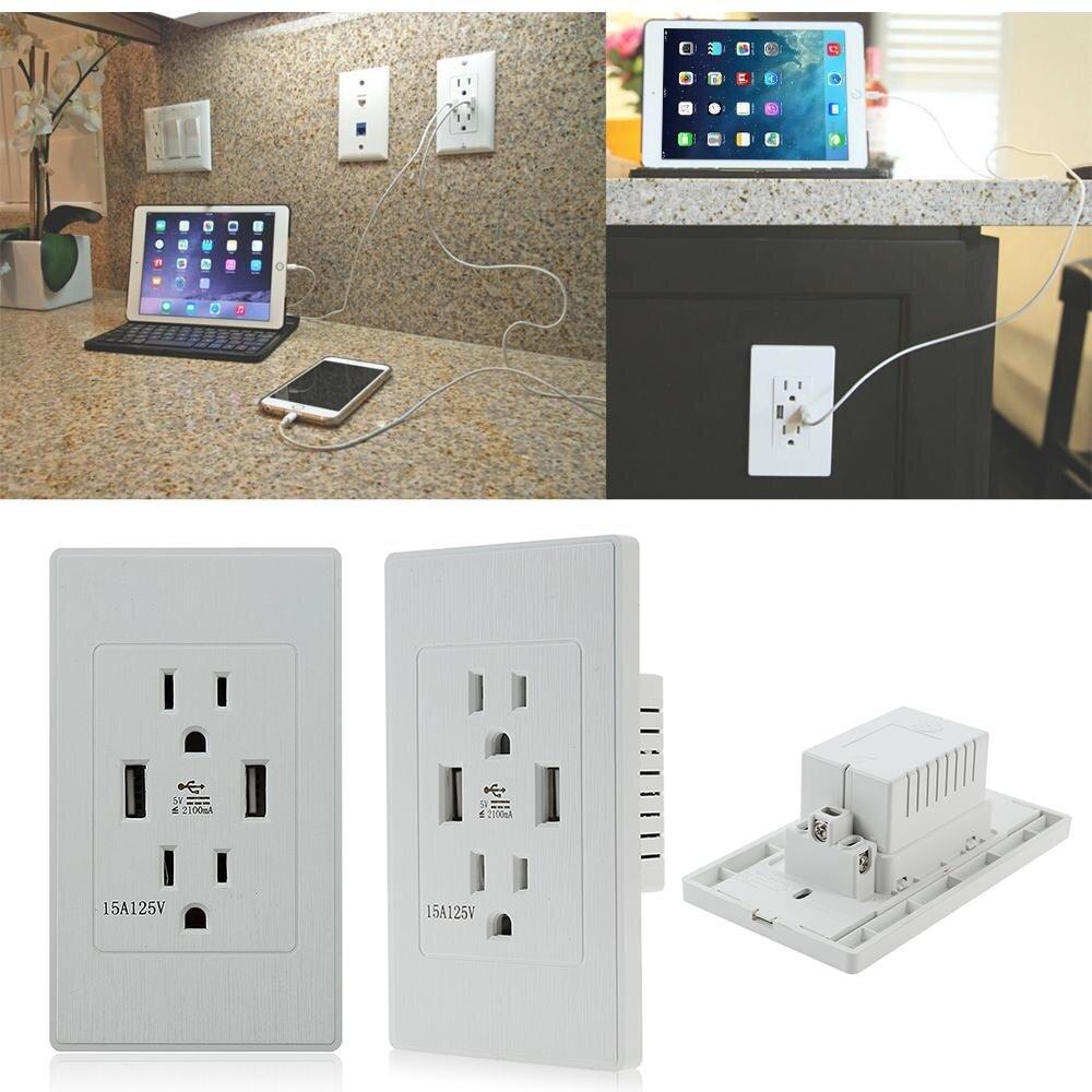 E Cuộc Sống Thông Minh 2.1A USB Ổ điện HOA KỲ Cắm Cổng USB Kép Sạc USB Tường Chống Ổ Cắm Tấm Bảng Điều Khiển 110 V HOA KỲ Ổ Cắm