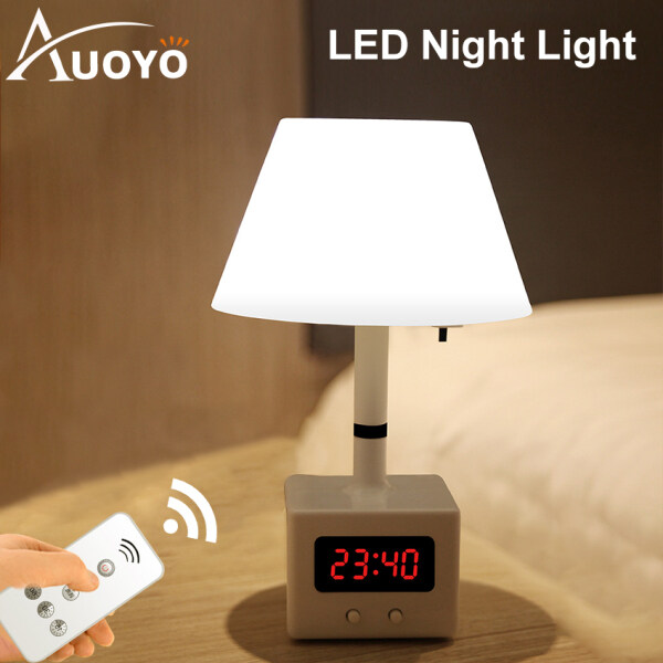 Auoyo Table Lamp Rechargeable Table Light Remote Control LED Night Light with Clock 10 Level Brightness Desk Lamp with USB Charging for Reading Working Studying