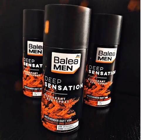 Balea Men Deodorant & Bodyspray Deep Sensation 150 Ml. ผลิตภัณฑ์สเปร์ระงับกลิ่นกายสําหรับผู้ชาย นำเข้าจากเยอรมัน.