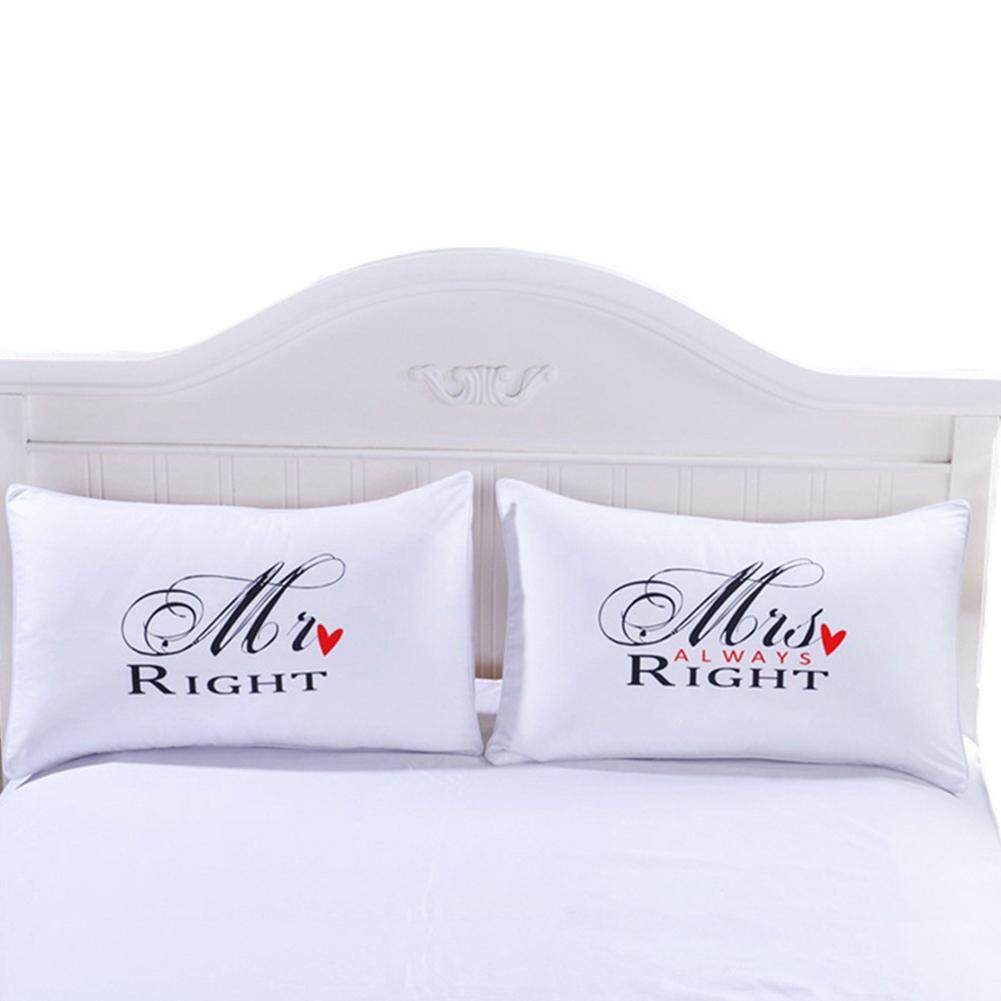 PS 1Pair Simple Mr Mrs Right Patern Printing Pillowcases for Lovers
