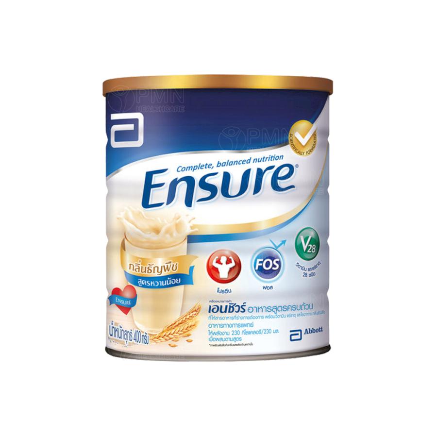 รีวิว Ensure Wheat Low Sugar 400g เอนชัวร์ กลิ่นธัญพืช สูตรหวานน้อย กรัม 400 กรัม อาหารสูตรครบถ้วน