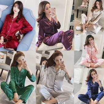 -ชุดนอนผู้หญิง  เเฟชั่นเกาหลี สีล้วน ผ้าซาติน  เเขนยาวขายาว พร้อมส่ง