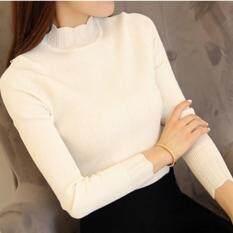 ขาย ซื้อ ออนไลน์ เสื้อไหมพรมคอสูง 003สีขาว ฟรีใซร์