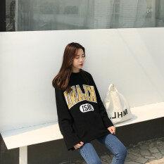 หลวมเกาหลีหญิงแขนยาวฤดูใบไม้ร่วงเสื้อเสื้อยืด 011 สีดำ ใหม่ล่าสุด