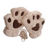 ขาย 1 Pair Cute Women Bear Cat Paw Pattern Cashmere Half Finger Winter Gloves Beige ถูก