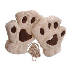 ขาย ซื้อ 1 Pair Cute Women Bear Cat Paw Pattern Cashmere Half Finger Winter Gloves Beige