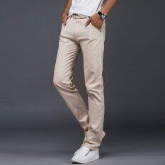 ราคา 10 สีผู้ชายบางกางเกงธุรกิจหรือสไตล์ลำลองกางเกงกางเกงยาวตรง สีเบจ นานาชาติ ออนไลน์ จีน
