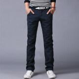 10 สีผู้ชายบางกางเกงธุรกิจหรือสไตล์ลำลองกางเกงตรงกางเกงยาว น้ำเงิน นานาชาติ เป็นต้นฉบับ