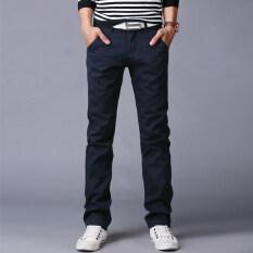 ราคา 10 สีผู้ชายบางกางเกงธุรกิจหรือสไตล์ลำลองกางเกงตรงกางเกงยาว น้ำเงิน นานาชาติ Unbranded Generic จีน