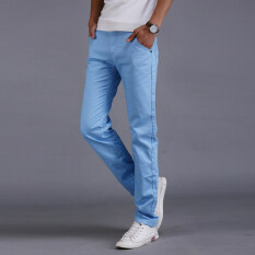 10 Colors Men Thin Pant Business Or Casual Style Trousers Straight Long Pants Sky Blue Intl ใหม่ล่าสุด