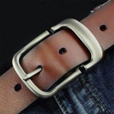 100 Men S Cowhide Genuine Leather Belts Brand Strap Male Pin Buckle Fancy Retro Jeans 0075 Brown Intl Thailand