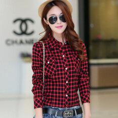 ขาย เสื้อเชิ้ตแขนยาวผ้าฝ้ายทรงสลิมลายตารางสไตล์สาวเกาหลี 1010 สีแดงและสีดำ Xiaogezi 1010 สีแดงและสีดำ Xiaogezi Unbranded Generic