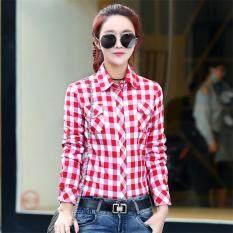 โปรโมชั่น เสื้อเกาหลีเสื้อเชิ้ตผ้าฝ้ายหญิงแขนยาว 1013