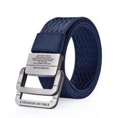 ราคา 120Cm Men Nylon Double Ring Alloy Buckle Belt Outdoor Sport Military Tactical Durable Pants Strip Intl ใหม่