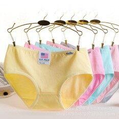 ซื้อ 12Pc Cotton Underwear Woman Panties Colorful Concise Solid Women S Underwear Classic Briefs Girls Students Color Random Intl Unbranded Generic ออนไลน์