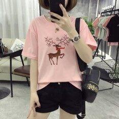 ราคา หลวมเกาหลีปักตัวอักษรในช่วงฤดูร้อนเสื้อยืด 1320 สีชมพู ออนไลน์