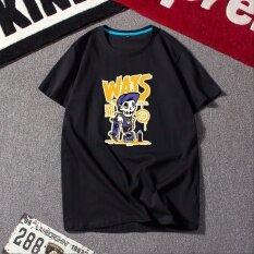 ซื้อ หลวมเกาหลีผู้ชายวัยรุ่นเสื้อยืดพิมพ์คอกลมแขนสั้นเสื้อยืด สีดำ 133 Form