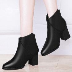 ราคา ป่าฤดูใบไม้ผลิใหม่ส้นสูงรองเท้าหญิงรองเท้าหนา ร้อยปี 1481 สีดำ ออนไลน์