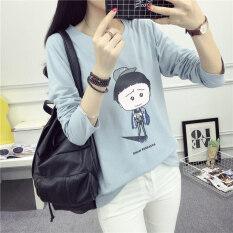 เสื้อยืดใหม่นักเรียนหลวมแขนยาว 172 สีฟ้า ใน ฮ่องกง