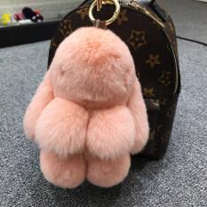 ราคา ซูเปอร์เม้งตุ๊กตากระต่ายขนกระต่ายขนาดเล็กถุงรถพวงกุญแจ หนังสีชมพู ธรรมดารุ่น 18 Cm ราคาถูกที่สุด