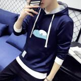 ซื้อ เสื้อกันหนาวเกาหลีเสื้อยืดชายวัยรุ่นเสื้อสวมหัว 1804 สีน้ำเงินเข้ม ออนไลน์ ฮ่องกง