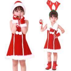 ซื้อ ชุดซานตาครอสเด็กผู้หญิง เดรสสีแดงขนปุยสีขาวแขนกุด แบบที่ 2 A1 เป็นต้นฉบับ