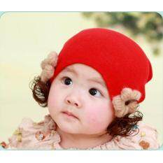 ขาย หมวกเด็ก หมวกปอยผมเด็ก หมวกไหมพรมติดปอยผม 2 ข้าง หมวกวิกผม หมวกไหมพรมฝ้ายเกาหลี น่ารักๆ ดอกไม้สีแดง เป็นต้นฉบับ