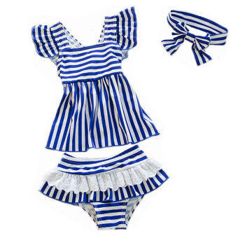 2-6 Years Kids Little Girl Swimwear Two Pieces Swimsuit Child Girls Swim Dress Bathing Suit (Blue)