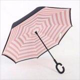 ราคา ร่มหุบกลับด้าน 2 ชั้น มือจับตัว C Pink And White Stripes ใหม่