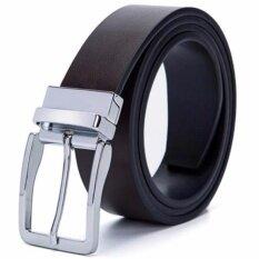 เข็มขัด ผู้ชาย มี 2 สี ในเส้นเดียว สีดำ สีน้ำตาล หนังแท้ Men Genuine Leather Belt Pin Buckle Waist Strap Belts Waistband 2 Side Usable ใหม่ล่าสุด