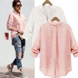 ขาย 2ชิ้นเสื้อแฟชั่นผู้หญิงฤดู 2559 ปล่อยแขนเสื้อยาว Blusas ลำลองเสื้อปุ่มหมุนลงปกเสื้อเสื้อยืดเสื้อ 2 สี สีชมพู Whirte ขนาด S 5Xl ออนไลน์ แองโกลา