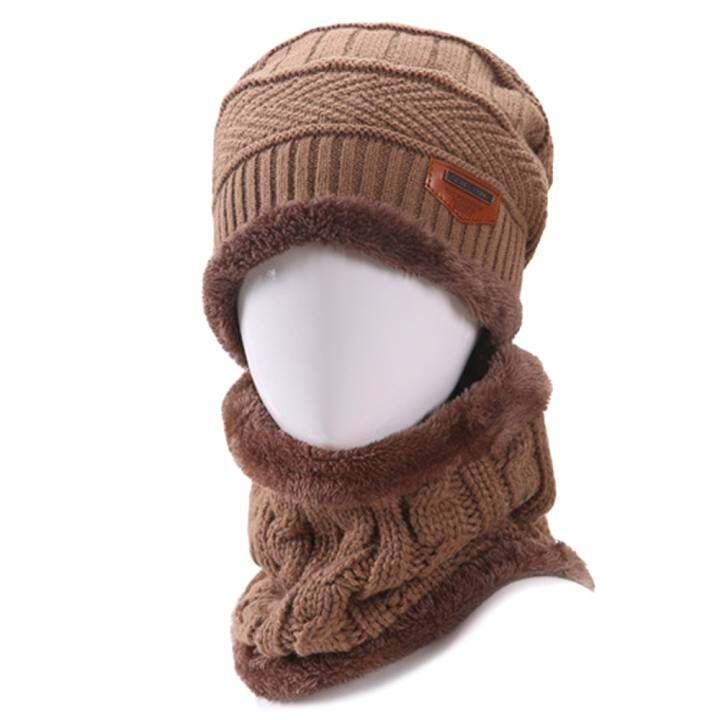 4748afa3f61 2 PCS Unisex Winter Knit Hat And Neck Warmer Scarf Set Men Women Thick  Knitted Skull