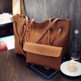 ขาย ซื้อ เซ็ท 2 ชิ้น กระเป๋าสะพายไหล่และกระเป๋าใบเล็ก หนังนิ่ม สีน้ำตาล Shoulder With Pouch Soft Leather Woman Bag
