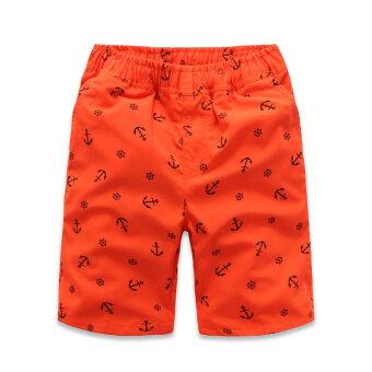 Haoxuesheng กางเกงเด็กชายห้าส่วน ลายดอก (สมอสีส้ม (ผ้าฝ้าย 20%))