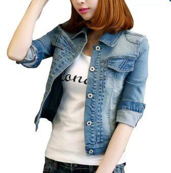 2559 แฟชั่นผู้หญิงกางเกงยีนส์แฟชั่นเสื้อแจ็คเก็ตยีนส์สาวร่างเพรียวสวมเสื้อสีน้ำเงิน
