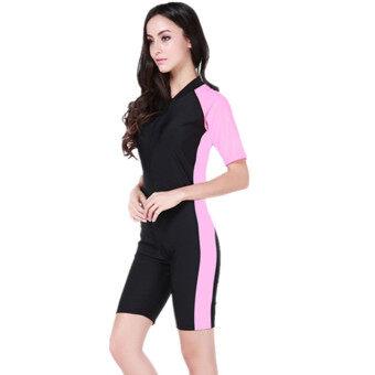 2017 หนึ่งชิ้น Floatsuit ชุดดำน้ำสูทชุดว่ายน้ำชุดว่ายน้ำชุดว่ายน้ำชิ้นเดียวชุดว่ายน้ำสั้นแขนยาวชุดว่ายน้ำ (สีดำและสีชมพู)