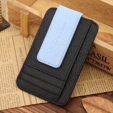 ราคา 2016 New Fashion Genuine Leather Money Clip Wallet Credit Card Id Holder Brand Magnet Clip For Money