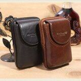 ขาย ซื้อ ออนไลน์ 2016 New Men Genuine Leather Vintage Cell Mobile Phone Cover Case Skin Hip Belt Bum Purse F*nny Pack Waist Bag Pouch Intl