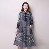 ส่วนลด สินค้า 2016 Spring New Plus Size Women Folk Style Long Sleeved Stand Collar Cotton And Linen Printed Dress Vintage Dress Vestidos 9831 Intl