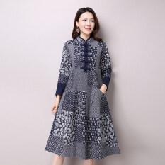 ส่วนลด 2016 Spring New Plus Size Women Folk Style Long Sleeved Stand Collar Cotton And Linen Printed Dress Vintage Dress Vestidos 9831 Intl