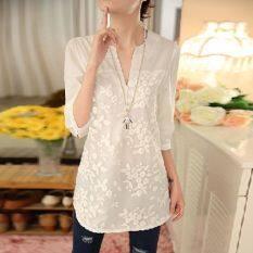 ราคา 2016 ฤดูร้อนใหม่ผู้หญิงเกาหลีสีขาวสามไตรมาสคอออร์แกนปักเสื้อผู้หญิงเสื้อ นานาชาติ ถูก