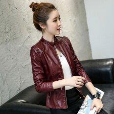 ขาย 2017 Autumn And Winter New Women Leather Coat Short Pu Leather Jackets Full Sleeve Zippers Outerwear Coat Intl Unbranded Generic ถูก